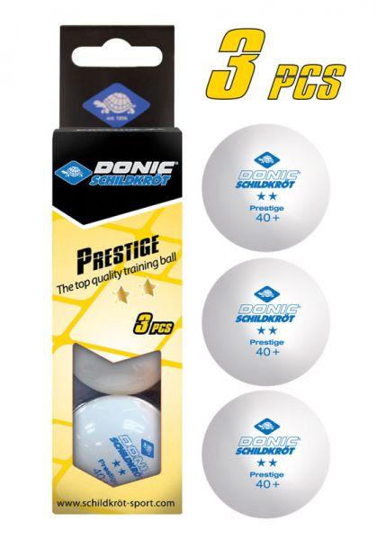 Tischtennisball 2-Stern Prestige, Poly 40+ Qualität, 3 Stk. im Karton, Weiß