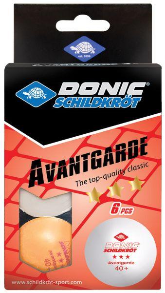 Tischtennisball 3-Stern Avantgarde Poly 40+, 3x Weiß / 3x Orange