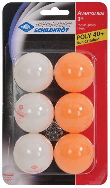 Donic-Schildkröt Tischtennisball 3-Stern Avantgarde Poly 40+, 3x Weiß / 3x Orange