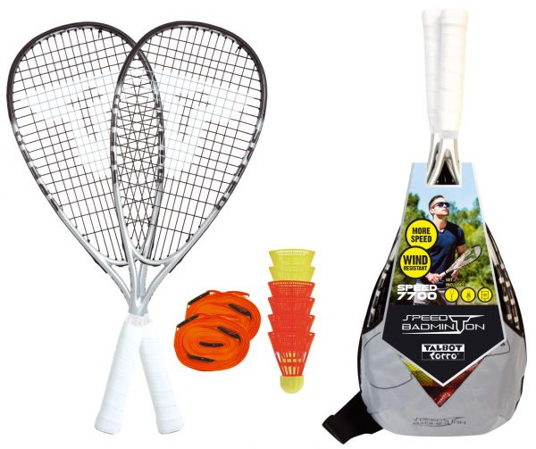 Speed-Badminton Set SPEED 7700, 2 Graphit-Composite Rackets 58,5cm, 6 Federbälle, Courtmarkierung,