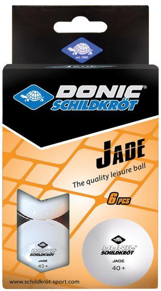 Donic-Schildkröt Tischtennisball Jade, Poly 40+ Qualität, 6 Stk.im Karton, Weiß