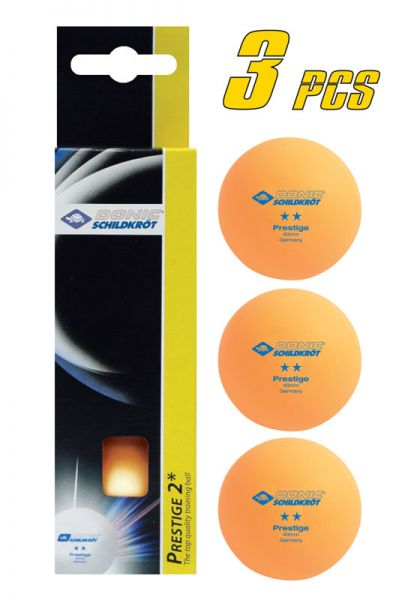 Tischtennisball 2-Stern Prestige, 3 Stk. im Karton, Orange