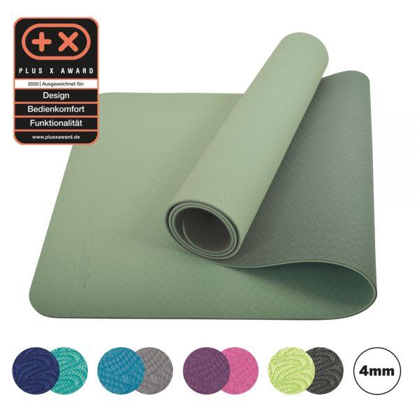 Bicolor Yogamatte, Grün-Moosgrün, 4mm, PVC-frei, im Carrybag