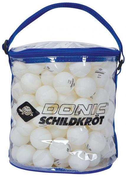 Donic-Schildkröt Tischtennisball Jade, Poly 40+ Qualität, 144 Stk.in Tragetasche, Weiß