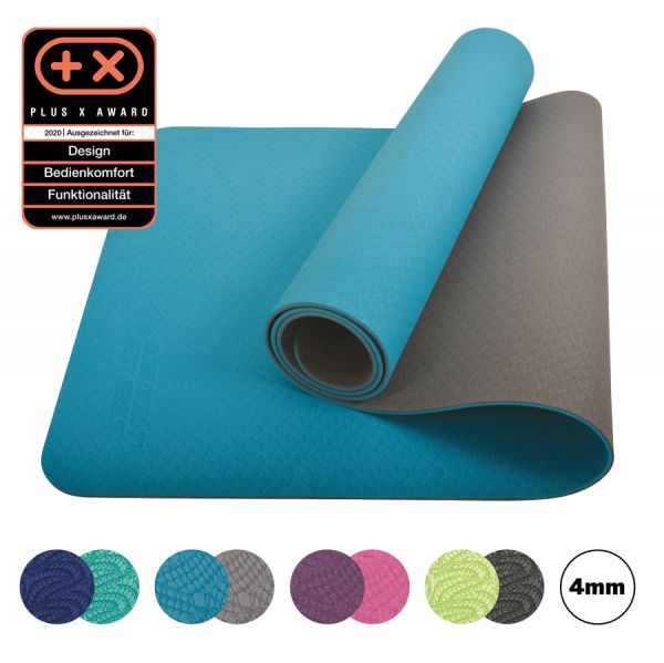 Bicolor Yogamatte, Petrol-Grey, 4mm, PVC-frei, im Carrybag