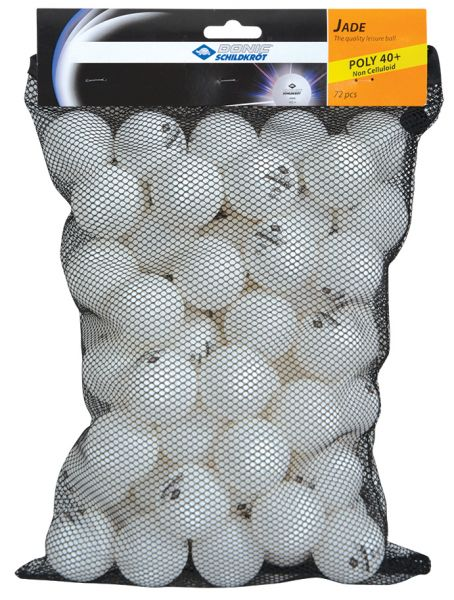 Donic-Schildkröt Tischtennisball Jade, Poly 40+ Qualität, 72 Stk. im Meshbag, Weiß