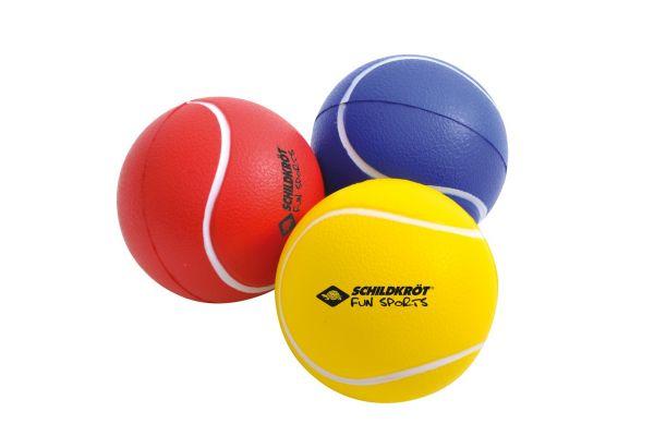 SOFT BALLS, gelb, rot, blau) im Netz, (3er Set)