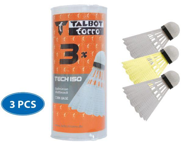 Talbot-Torro Badmintonball Tech150 Nylonfederball, 3er Dose