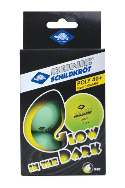 """Donic-Schildkröt Tischtennisball """"Glow in the Dark"""", 6 hellgrüne, fluoreszierende Bälle"""