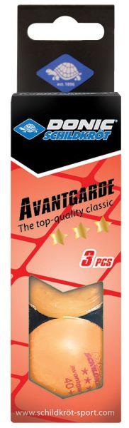 Donic-Schildkröt Tischtennisball 3-Stern Avantgarde, Poly 40+ Qualität, 3 Stk. im Karton, Orange