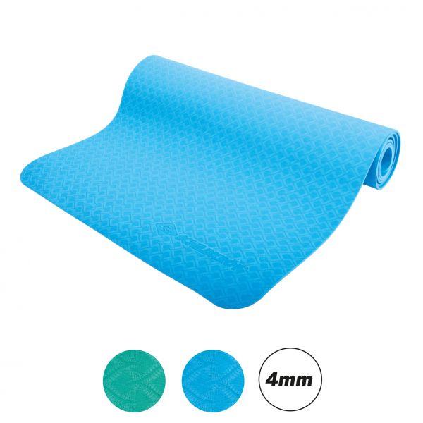 TPE Yogamatte, Blau, 4mm, PVC-frei, im Carrybag