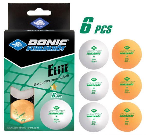 Tischtennisball 1-Stern Elite Poly 40+, 3x Weiß / 3x Orange