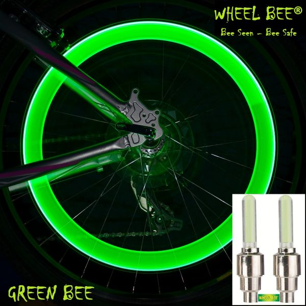 Wheel-Bee® LED-Bicycle Lights - Green, 2x in Blistercard