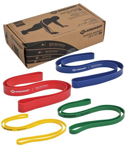 Super Band 4er Set, Premium Widerstandsbänder mit 4 verschiedenen Widerstandsgraden
