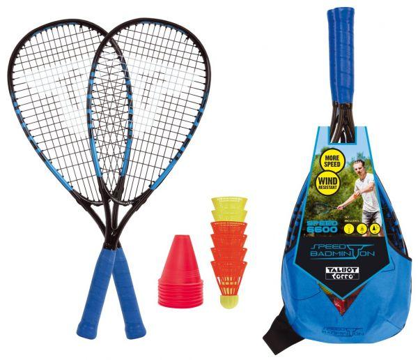Speed-Badminton Set SPEED 6600, 2 kraftvolle Alu-Rackets 58,5cm, 6 Federbälle, Cones, im trendigen R