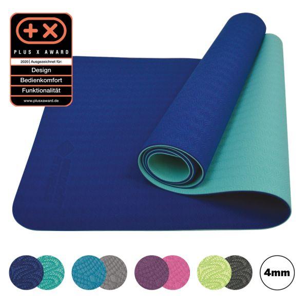 Bicolor Yogamatte, Navy-Mint, 4mm, PVC-frei, im Carrybag