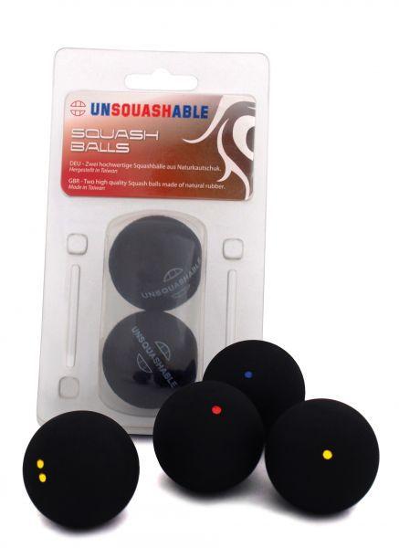 Unsquashable Squashbälle, 2er Blister, Doppelgelb / Extraslow