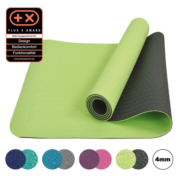 Bicolor Yogamatte, Lime-Anthrazit, 4mm, PVC-frei, im Carrybag