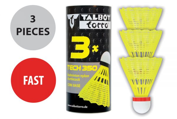 Talbot-Torro Badmintonball Tech 350 Nylonfederball, 3er Dose