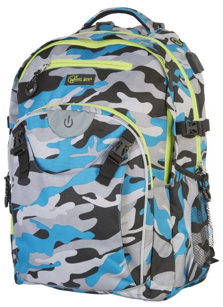 Wheel Bee LED-Backpack Generation Z - Camouflage Blue