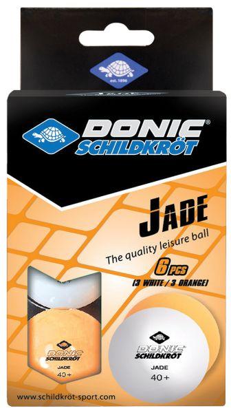 Donic-Schildkröt Tischtennisball Jade, Poly 40+ Qualität, 6 Stk. im Karton, 3x Weiß / 3x Orange