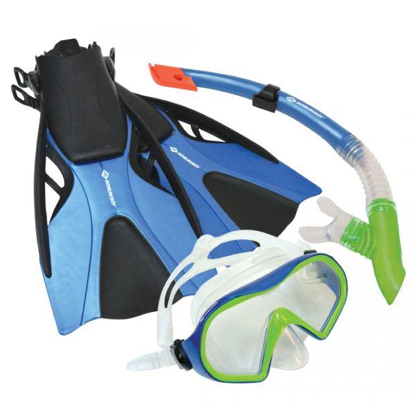Schildkröt Schnorchel Set Cayman mit Brille, Schnorchel, Flossen in den Größen 37-42 oder 43-47